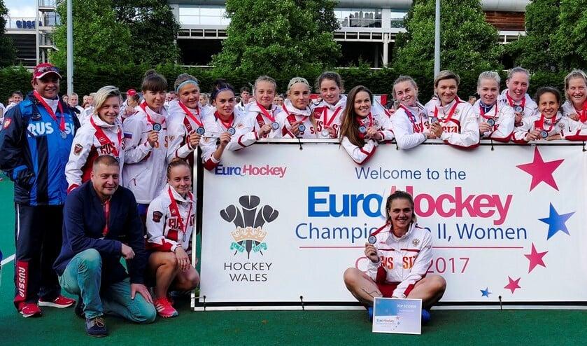 Het Russisch dameshockeyteam komt naar Huizen voor een oefenwedstrijd.