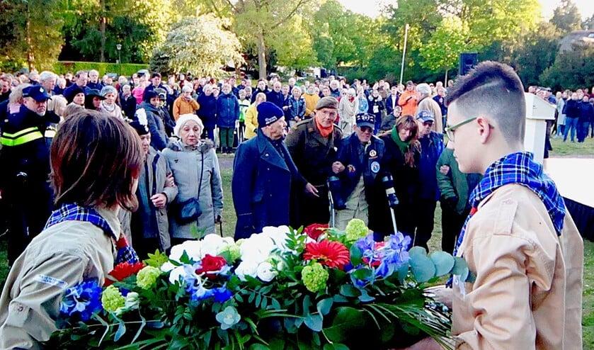 Vorig jaar tijdens de herdenking in Blaricum.