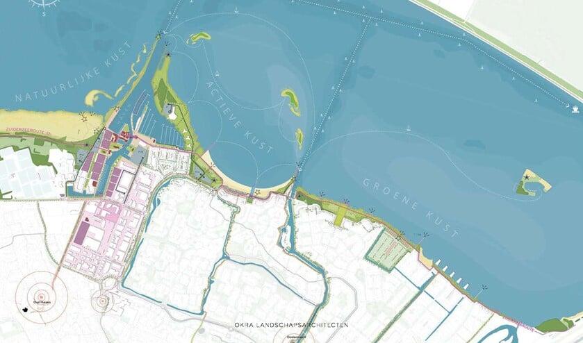 De kust wordt verdeeld in vier zones: de haven, natuurlijke kust, actieve kust en groene kust.