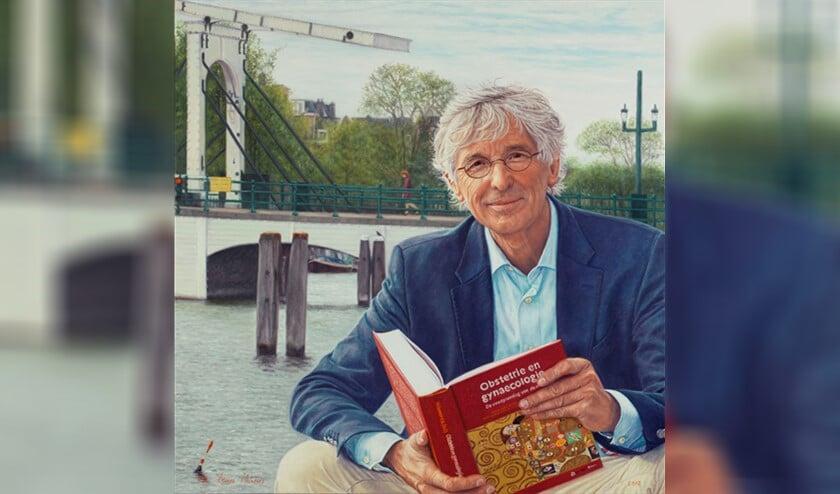Een deel van het portret: 'Prof. Dr. M.J. Heineman en Amsterdam'.