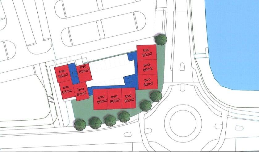 Een schets van waar de mogelijke bebouwing plaats zal vinden.