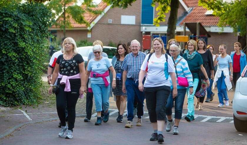 De wandelgroep op pad, met rechtsvoor Elisabeth en rechts daarachter Henny. Links van haar Lambert en Ans.