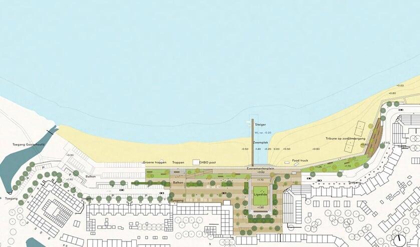 <p>Zo ziet het voorontwerp er uit, waarbij de helft van de parkeerplaatsen blijven op verzoek van de gemeenteraad.</p>
