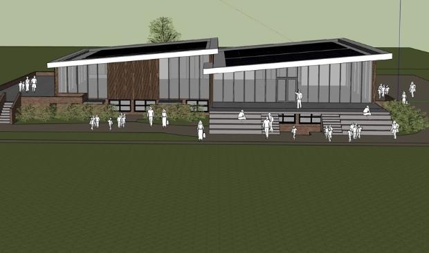 <p>Het nieuwe clubgebouw van voetbalvereniging SV Laren &#39;99.</p>
