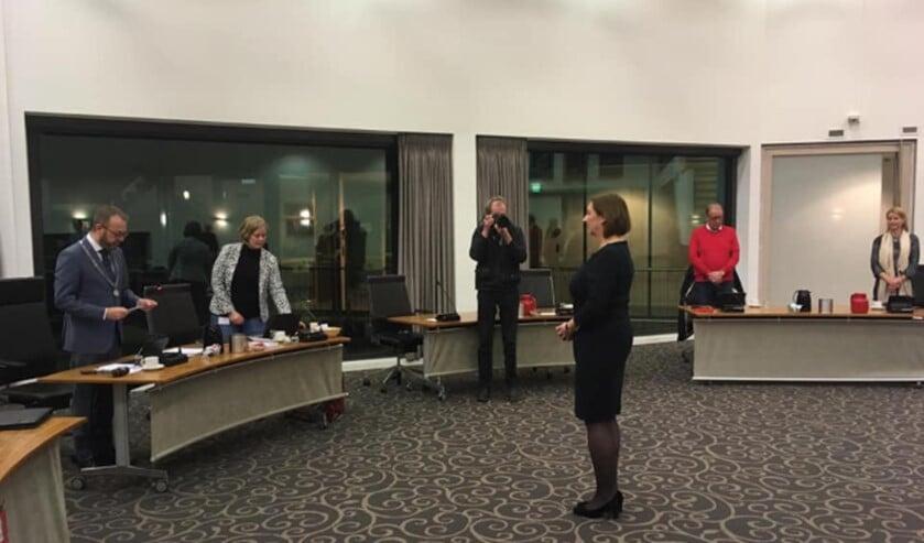 Wilma de Boer-Leijsma tijdens haar benoeming.
