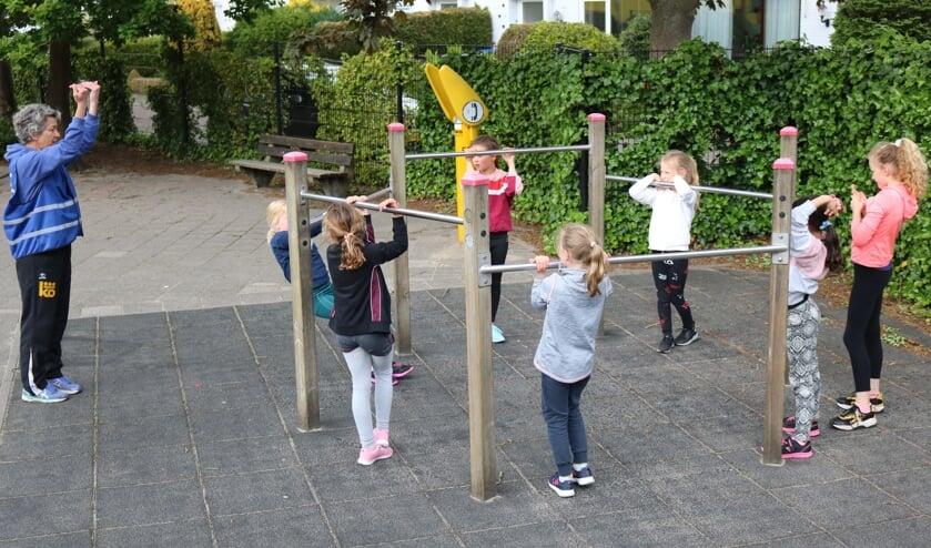 De jeugd actief op het schoolplein van De Tweemaster.