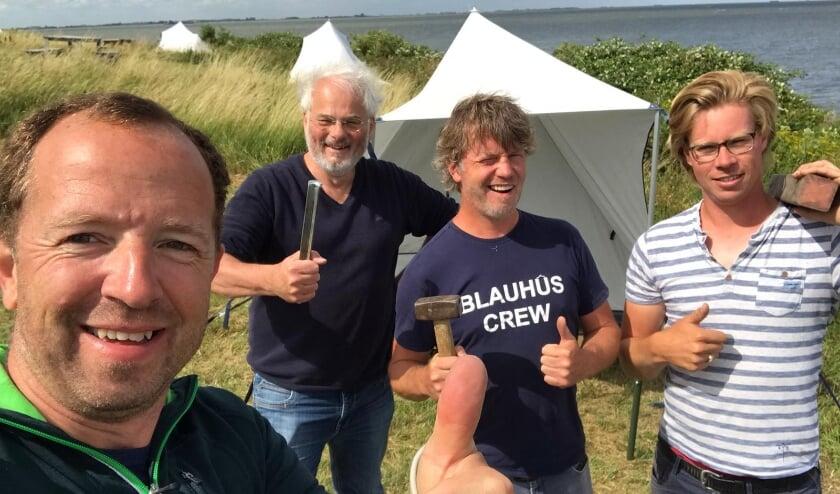 Erny Gelling (bluecamp tenten) Peter dankes  (vrijwilliger Pampus) Bart van der Hucht en Maarten Verver (beiden Pampus Events)