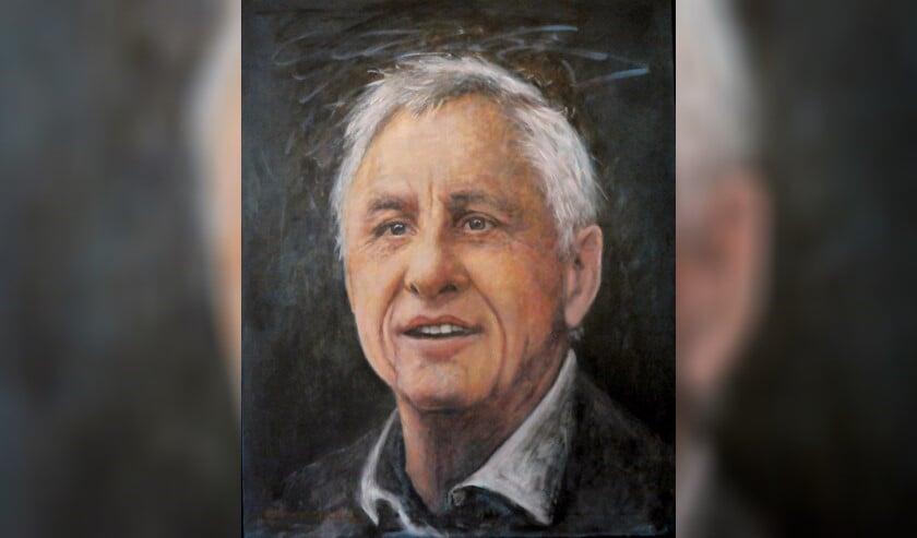Een portret van Johan Cruijff, geschilderd door Gemma van der Zee.