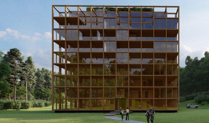 <p>Minimalistische architectuur in hout, waarbij de omgeving wordt weerspiegeld in de teruggetrokken glazen gevel.</p>
