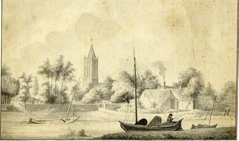 <p>Tekening &#39;het Dorp Eemnes Buijtendijk&#39; door Paul van Liender uit 1755.</p>