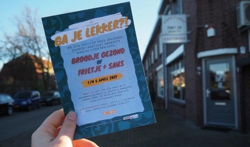 <p>De flyer van de burgemeester waarmee je een gratis frietje kan halen.&nbsp;</p>