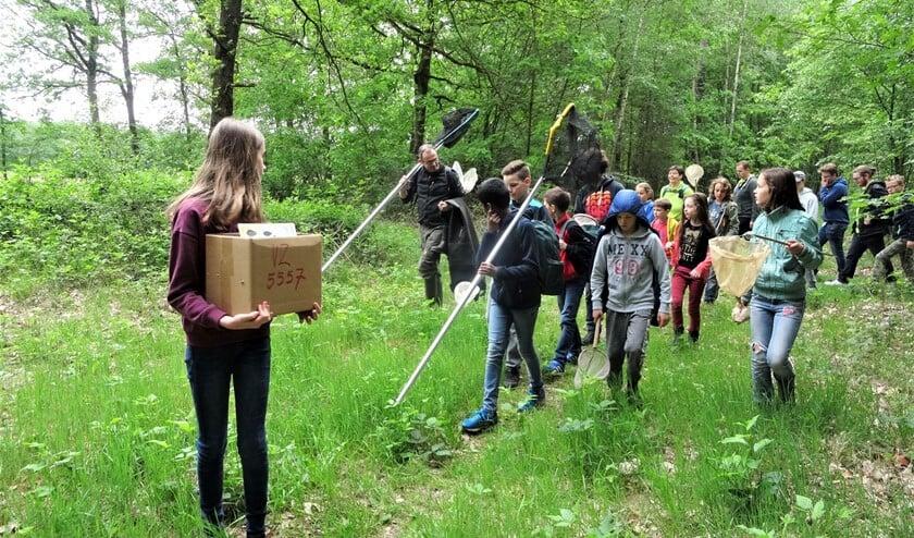 <p>Deze groep is op pad om waterdiertjes te gaan vangen en bekijken. (Foto: IVN Valkenswaard-Waalre)</p>