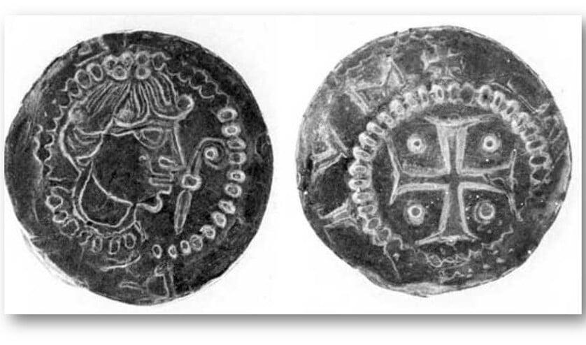 Men ziet hier een 12e eeuwse penning met een afbeelding van de bisschop uit het Centraal Museum.