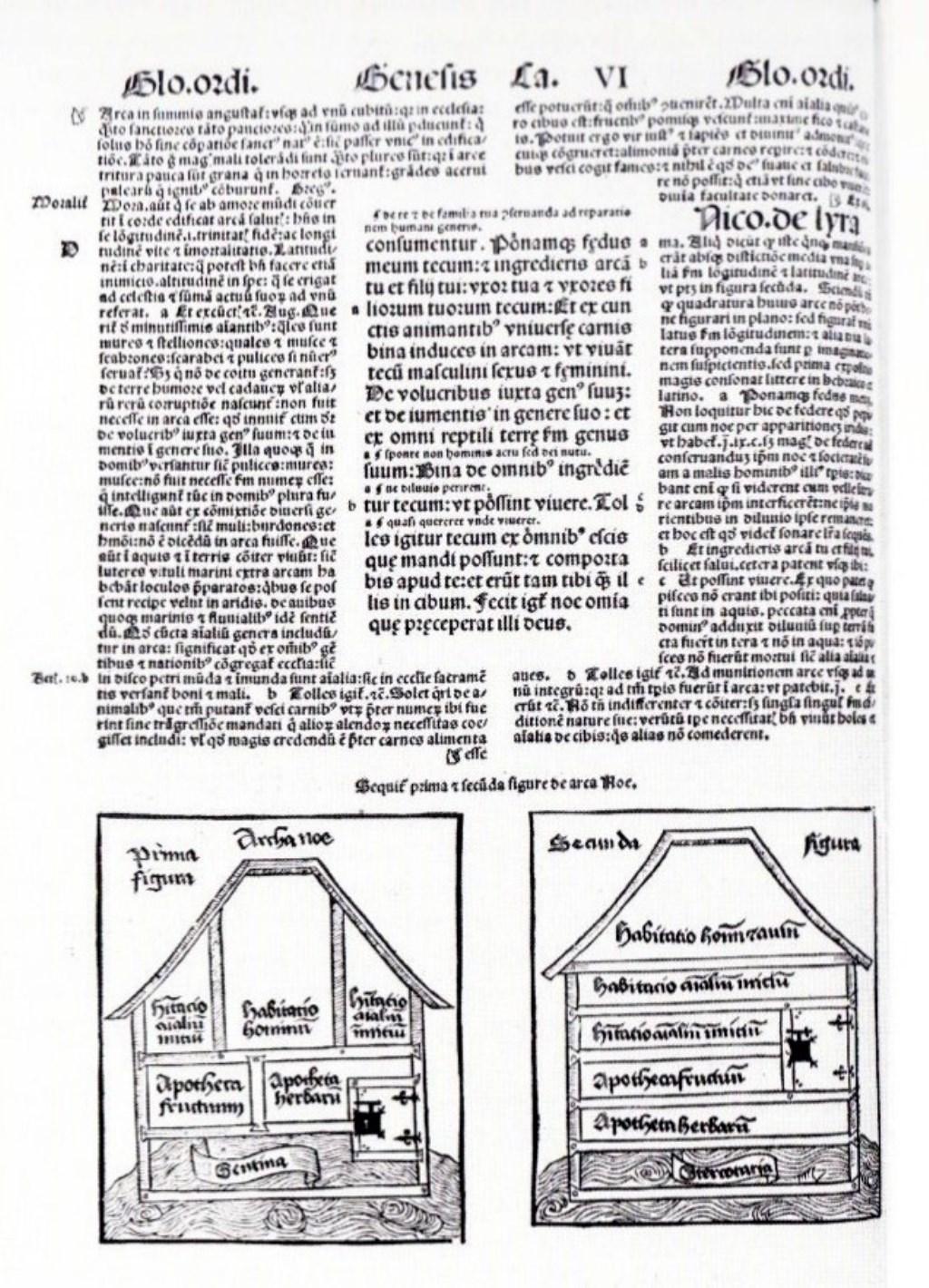 Pagina uit de zesdelige bijbel uit 1498  © De Vierklank
