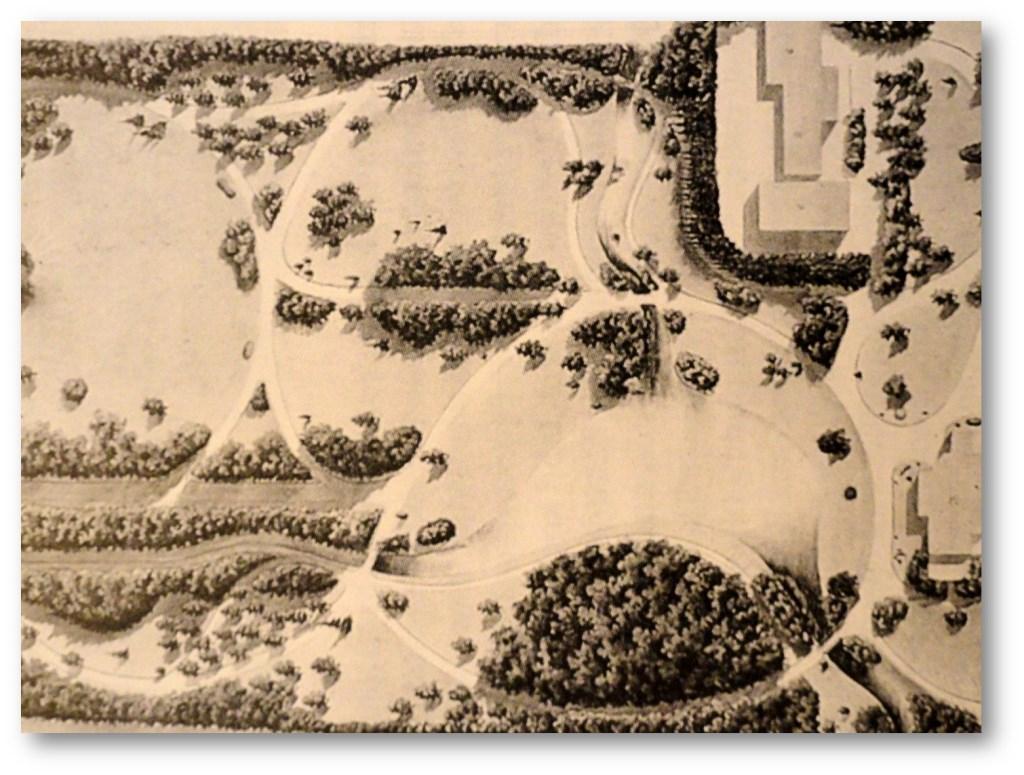 De door de bekende tuinarchitect L.A. Springer in Engelse landschapsstijl aangelegde tuin in 1882. (Bibliotheek Universiteit Wageningen.)  © De Vierklank