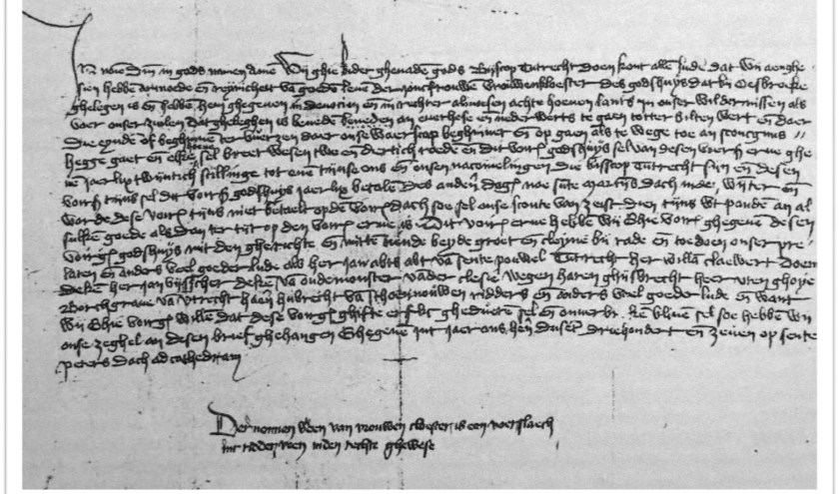"""Pas eeuwen later komt voor het eerst het woordDe Bilt voor. In een oorkonde in het Utrechts Archief. Zie regel 4 van deze oorkonde van bisschop Gwijde van Avesnes van 1307: """"totter Biltenwert""""."""