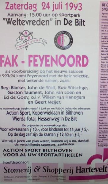 In juli 1993 vond een ontmoeting plaats met Feyenoord.  © De Vierklank