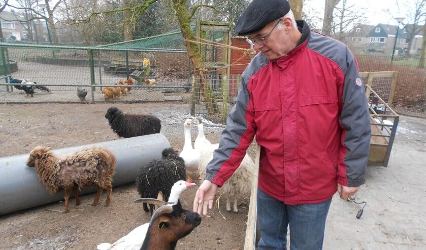 Nog een keer aait Joop Rosier een van de dieren waar hij zo lang voor gezorgd heeft. Met een gerust hart laat hij de kinderboerderij achter bij de nieuwe beheerders.