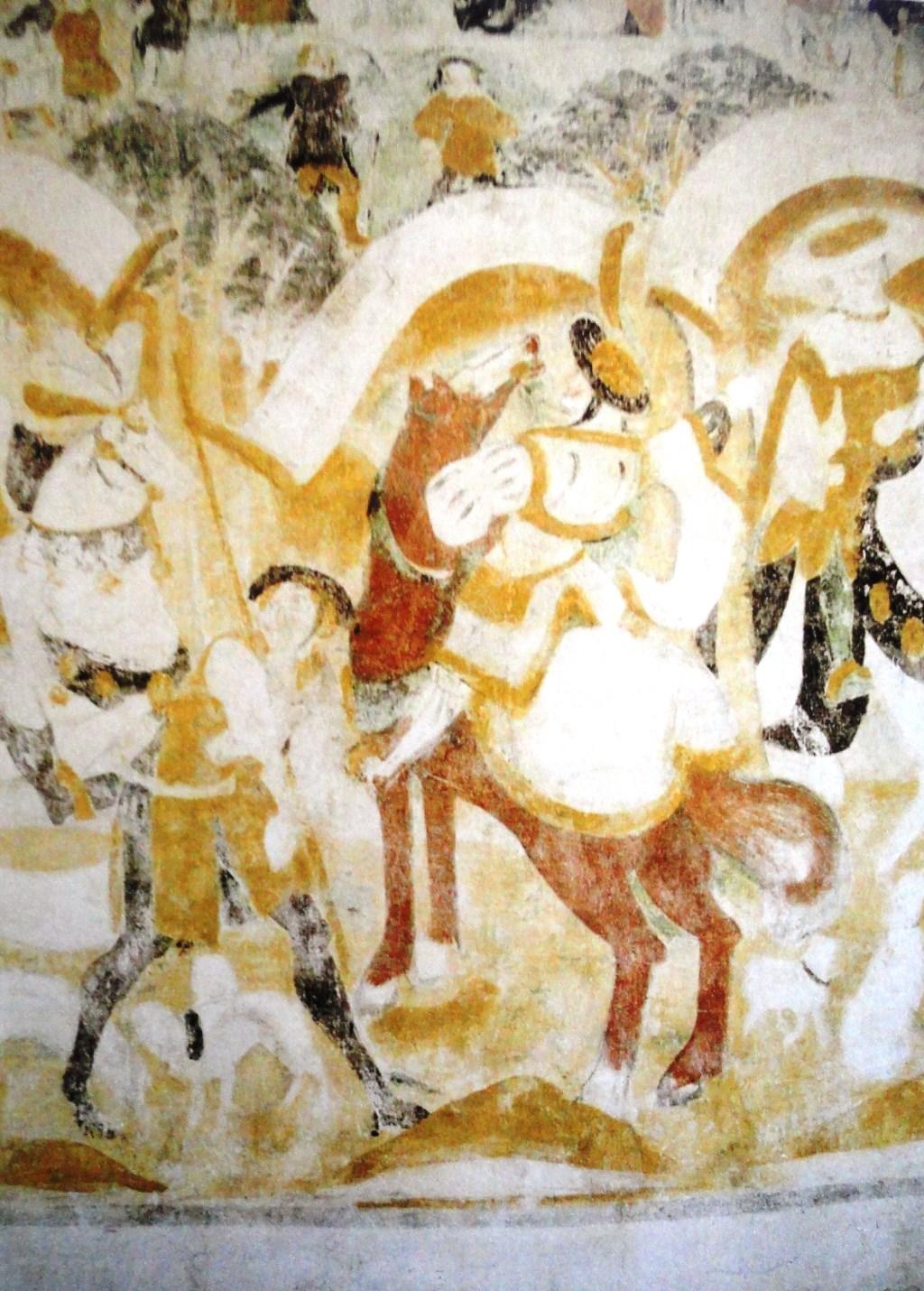 Anne Doedens: 'De schilderingen van Westbroek zijn m.i. na 1481 geschilderd, toen de dorpelingen nog onder de indruk waren van dit bloedig op hun grond uitgevochten deel van de Hoekse en Kabeljauwse twisten. Op deze schilderingen van de 'drie doden en de drie levenden' is de Dom duidelijk te zien. Johan Huizinga schreef hierover: 'De voorstelling van de drie doden en de drie levenden vormt de schakel tussen het afzichtelijke beeld der verrot  © De Vierklank