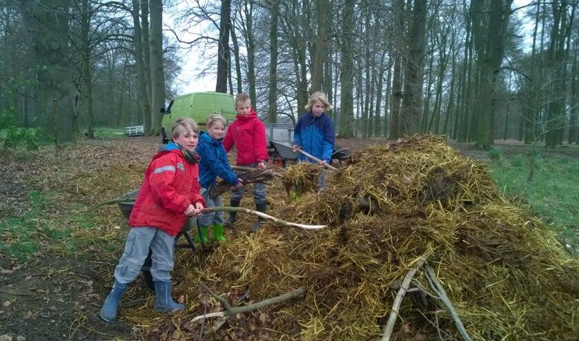 Kinderen zijn druk in de weer met de broeihoop.