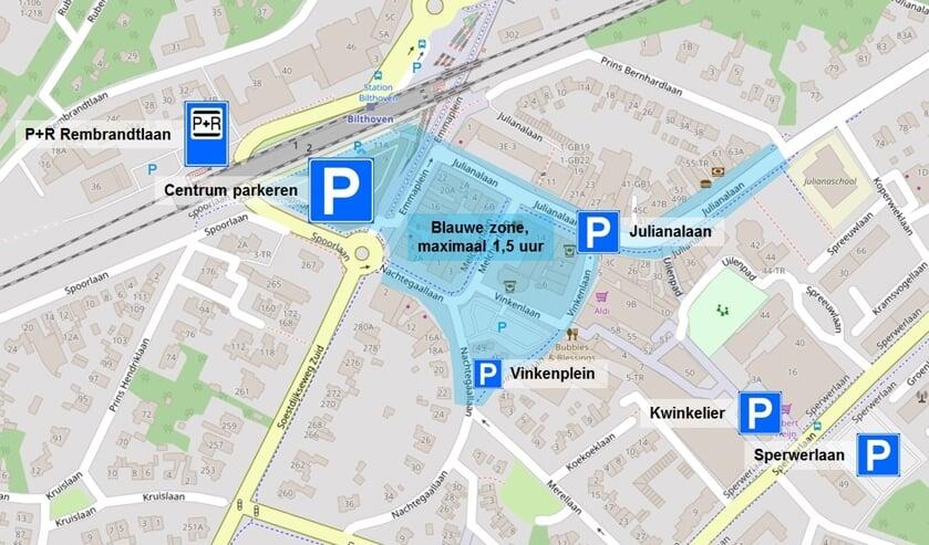 Zone maximaal 1,5 uur parkeren in Bilthoven.