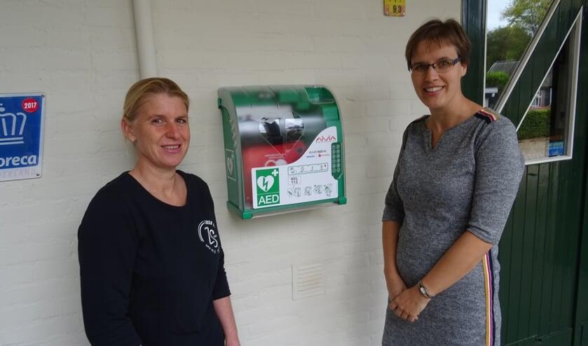 Monica Beckers (l) Marleen Steenbeek bij de AED bij de achteringang van Zilt en Zoet.