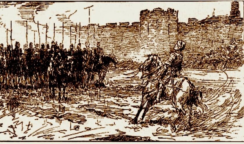 Prent in Oltmans' boek 'De schaapherder'; getoond wordt de troep die Westbroek aanviel onder de muren van Utrecht.