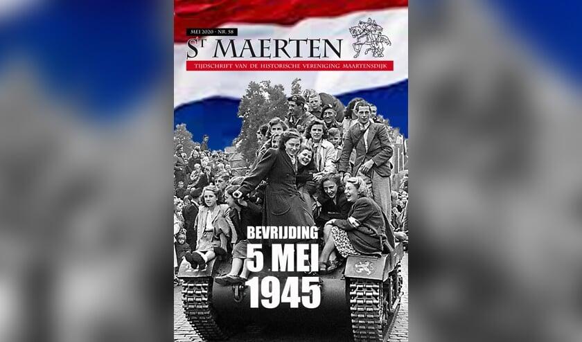 De voorpagina van Sint Maerten nr. 58 toont een karakteristiek bevrijdingsbeeld, een geallieerde tank afgeladen met uitzinnig blije burgers (locatie onbekend).
