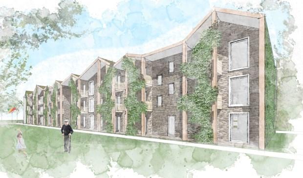 'Zachtere' architectuur met groen om aan te sluiten op de bestaande bebouwing. (impressie woongebouwen door TWA Architecten)  © De Vierklank