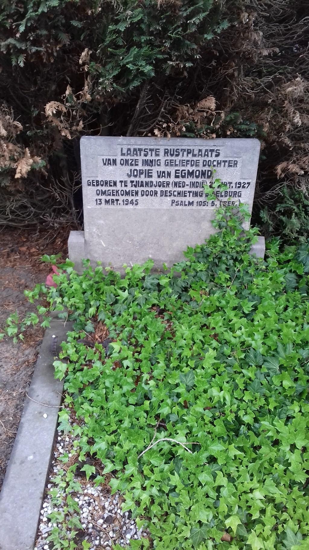 Grafmonument van Jopie van Egmond, zeventien jaar oud, op de begraafplaats Brandenburg in De Bilt.   © De Vierklank