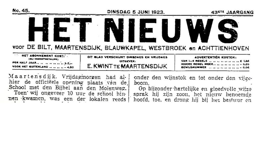 Het Nieuws van 5 juni 1923 vermeldde ook de opening van de School met den Bijbel aan de Molenweg in Maartensdijk (foto Koos Kolenbrander).  © De Vierklank