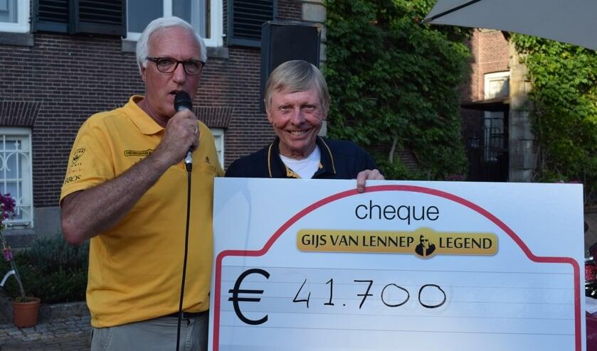 Kiwanislid Joost Cohen en Gijs van Lennep maken het bedrag bekend.