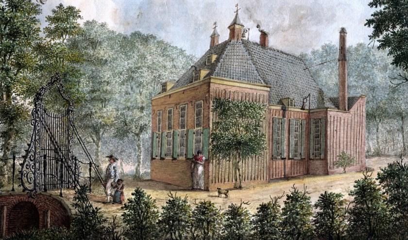 Zicht op de zij- en de achtergevel van Rustenburg in 1810. (Anonieme tekening - Utrechts Archief)