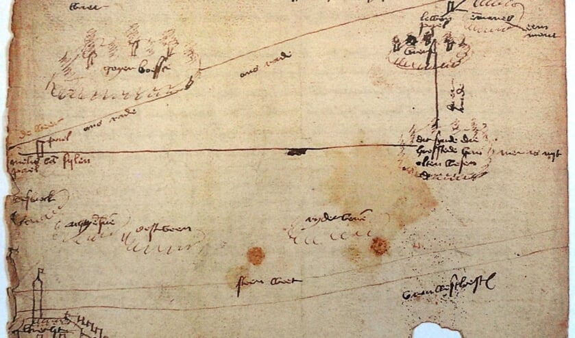 De oudste kaart: een schets uit 1472 waarop omstreden grenzen tussen het Sticht en Holland zijn afgebeeld. (Algemeen Rijksarchief Den Haag).