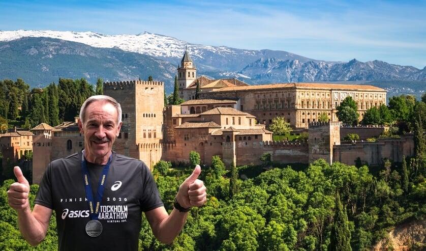 <p><em>Rob Plijnaar na zijn deelname aan de &lsquo;Stockholm marathon in Granada&rsquo;. Op de achtergrond het Alhambra, het paleis van zowel de Moorse heersers als Karel V.</em></p>