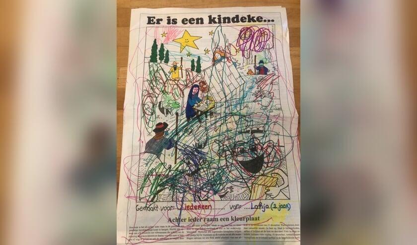 """Lahja Gerhardt - 2 jaar heeft deze kleurplaat voor iedereen gemaakt, want """"iedereen is lief"""". Fijne feestdagen!"""