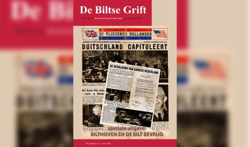 Op de voorpagina van De Biltse Grift het allerlaatste nummer van De Vliegende Hollander, een krantje dat regelmatig door vliegtuigen boven Nederland werd uitgestrooid, om de bevolking op de hoogte te houden van de oorlogshandelingen.