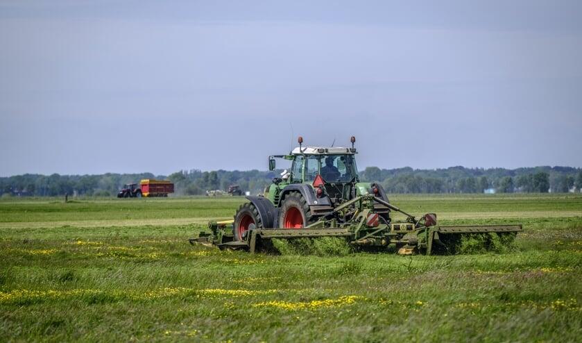 In deze tijd van het jaar wordt het gras geoogst op de Bonte Parels.