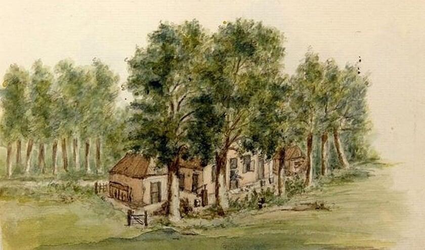 Een tekening van Maurits van Eyck van een later door Willem Carel baron van Boetzelaer afgebroken boerderij 'De Morgen'.
