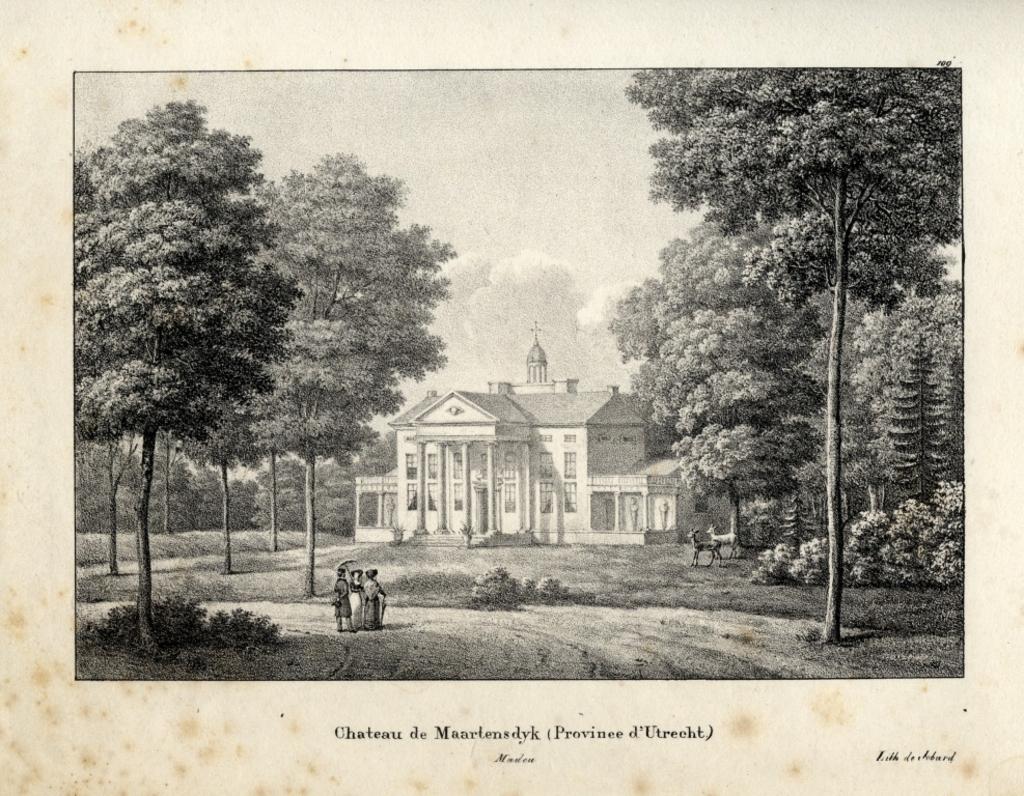 'Chateau de Maartensdyck', een tekening uit ca. 1825 van J.J. de Cloet. (foto Utrechts Archief) Foto:  © De Vierklank