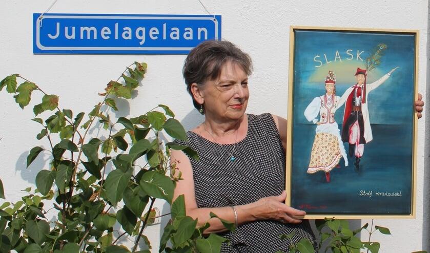 Schilderij van Hanka Vossen van De Poolse dansgroep Slask (Silezië) met prachtige, originele klederdracht.