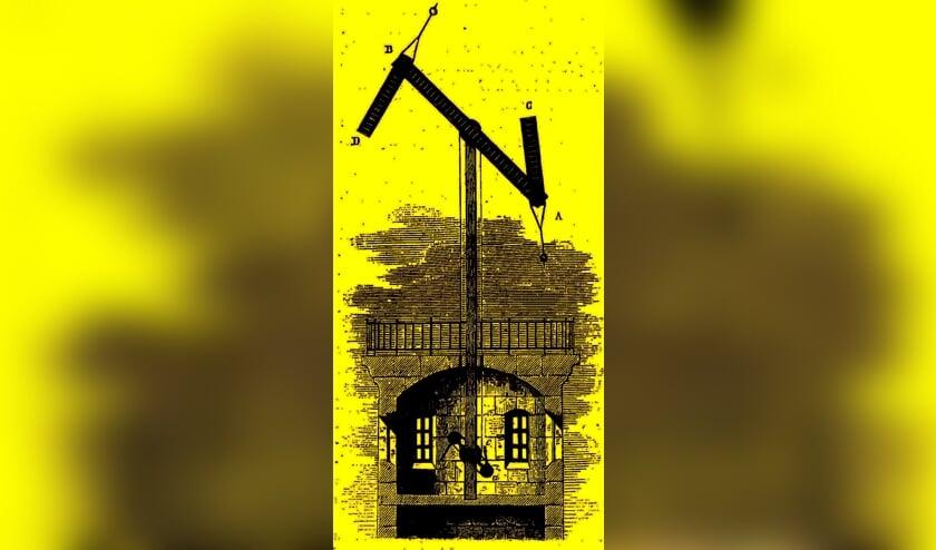 Afgebeeld is een telegraaf zoals deze er op de Westbroekse toren moet hebben uitgezien. (Illustratie in Les merveilles de la science van Louis Figuier, - Parijs 1868).