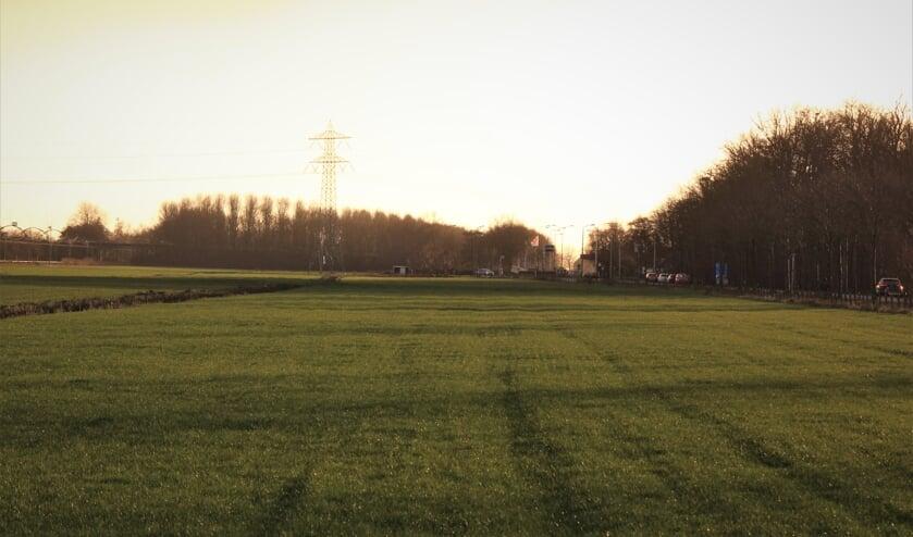 Ter hoogte van de brandweergarage in Maartensdijk met links de spoorlijn Hilversum-Utrecht en rechts de Koningin Wilhelminaweg ligt 10 hectare weiland dat wellicht omgetoverd wordt tot zonneveld.