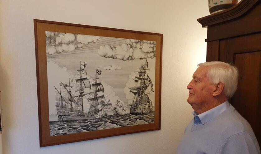 Geel voor één van zijn vele tekeningen, de Spaanse Armada.