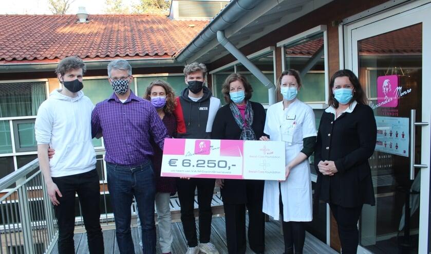 <p><em>Born, Yaromir en Levi Copijn zijn dankbaar dat zij de donatie aan vertegenwoordigers van het ziekenhuis mochten aanbieden.</em></p>