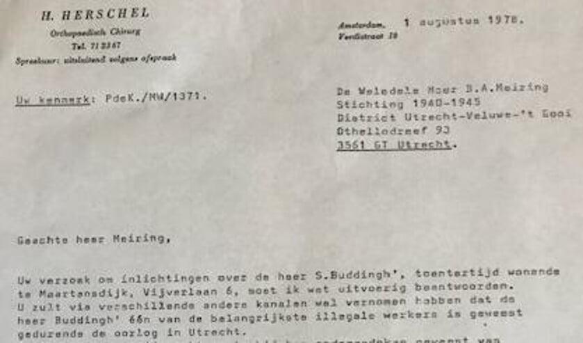 Fragment uit een getuigenis van onderduiker Herman Herschel over het grote belang van de Buddingh's:  'een van de belangrijkste illegale werkers...'