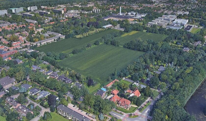 Luchtfoto van het gebied rond de Schapenweide.