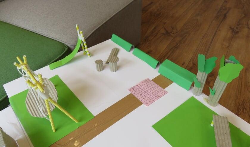 Het ontwerp van de duurzame speelplek met creatieve input van de leerlingen.