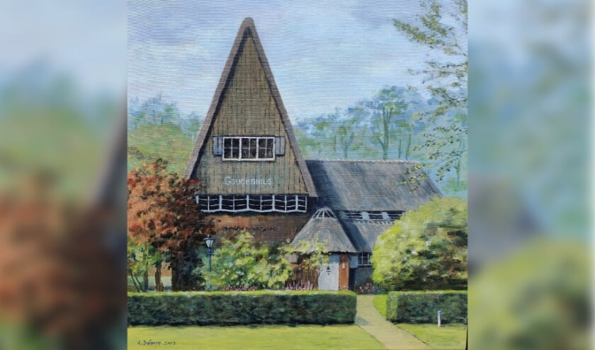 Bram Dolman toverde dit schilderij van Huize Gaudeamus in 2009 uit zijn penseel.