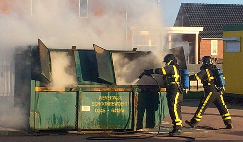 Containerbrand in de Tielmanstraat in Bleskensgraaf.